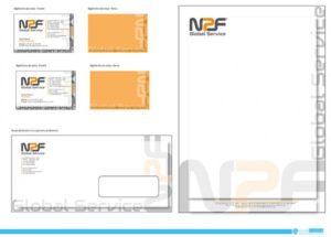 Immagine coordinata aziendale per NPF Global Service S.r.l. : bigliettini da visita, busta da lettera con finestra e carta intestata.
