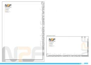 Immagine coordinata aziendale per NPF Global Service S.r.l. : busta da lettera senza finestra e busta da lettera formata A4