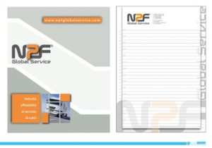 Block Notes NPF Global Service: copertina e foglio A4.