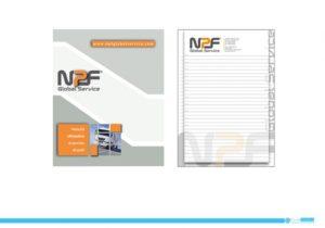 Block Notes NPF Global Service: copertina e foglio A5.